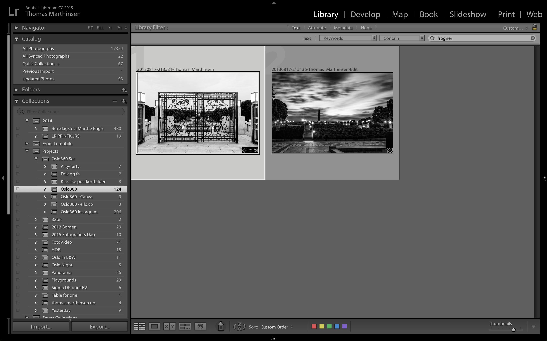 """Filterer jeg istedet på """"frogner"""" får jeg treff på to bilder, som begge har stikkordet Frognerparken."""