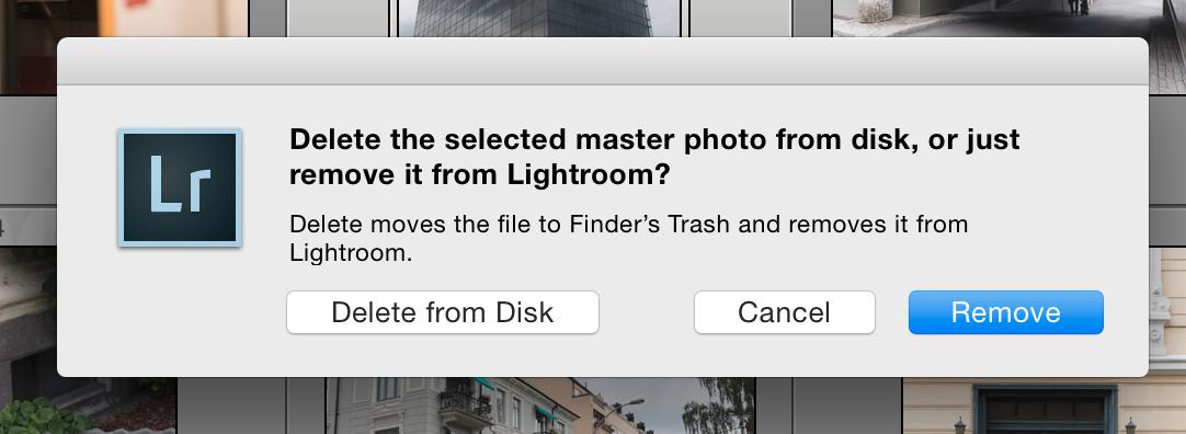 Slette bilder fra maskinen, eller kun fjerne de fra Lightroom?