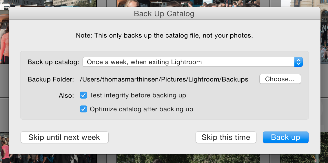 Lightroom backup