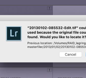 Lightroom file is missing