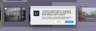 Lightroom file is missing